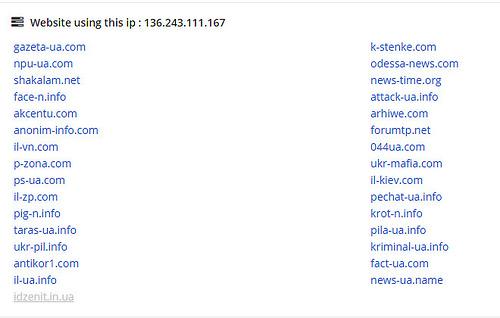 Остальные побывали на одном сервере крупного немецкого провайдера. На нем же «отметилось» большинство сайтов из «списка Кривошеевой».